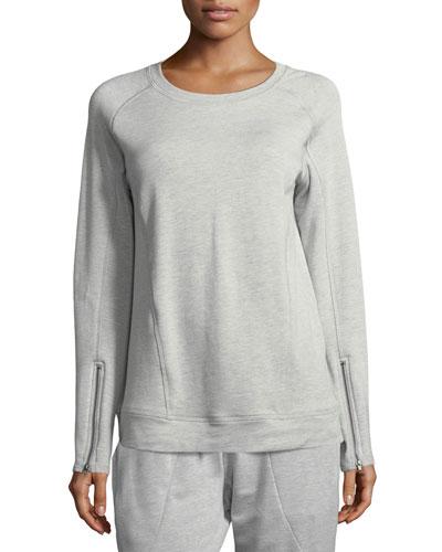 Crewneck Zip-Sleeve Pullover Sweatshirt
