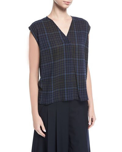 Ela Plaid Sleeveless V-Neck Blouse