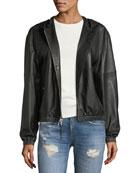 Kris Hooded Zip-Front Leather Jacket