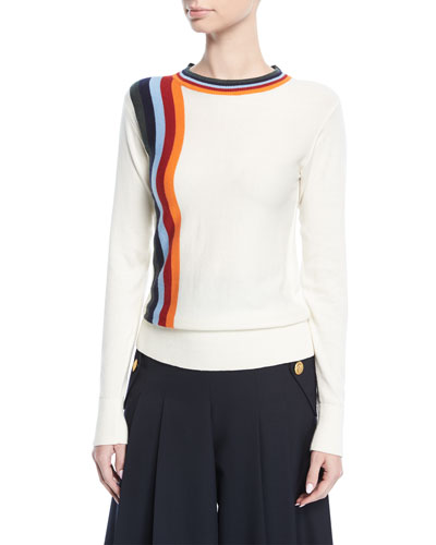 Nell Crewneck Knit Sweater with Stripes