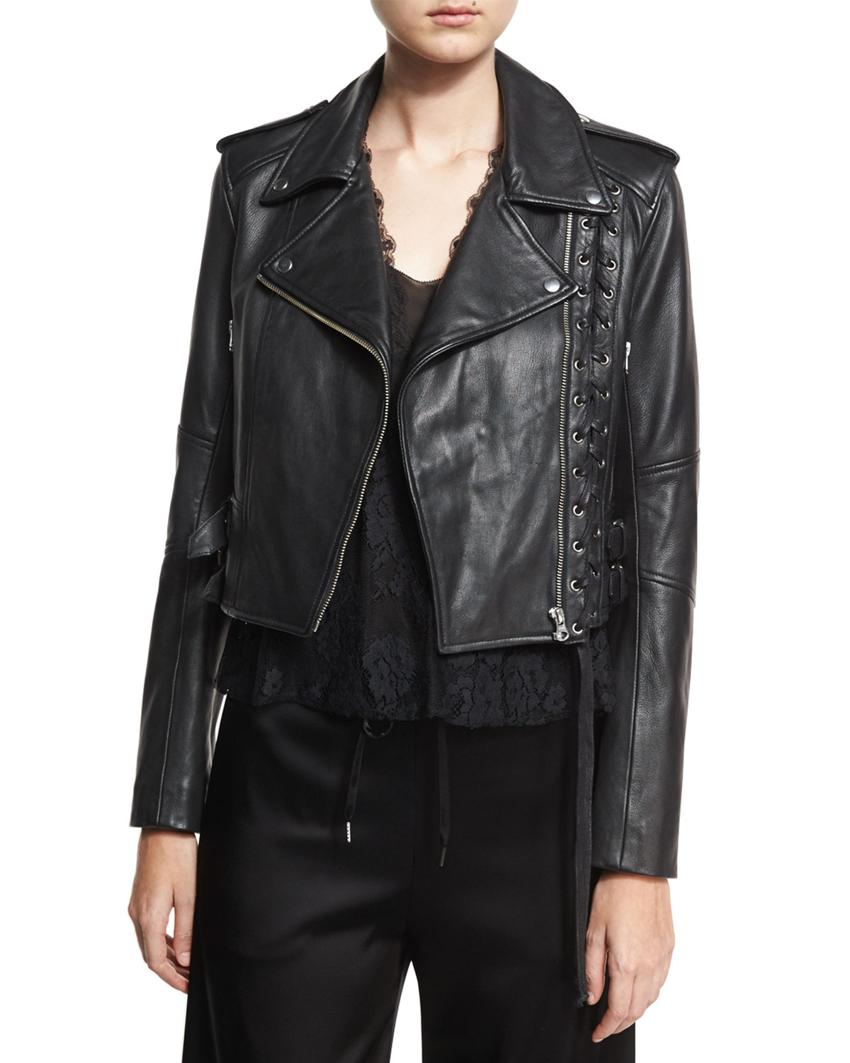 Leather Moto Lace-Up Jacket, Black