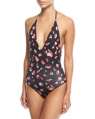 Nina Printed Halter-Neck One-Piece Swimsuit