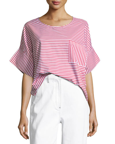 Amos Round-Neck Striped Cotton Top