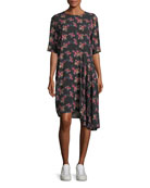 Rima Crewneck Half-Sleeve Floral-Print Dress