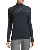 Lace-Yoke Silk Turtleneck Sweater