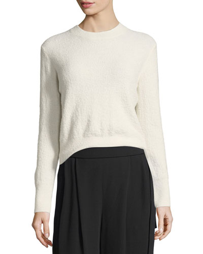 Fuzzy Wool Crewneck Pullover Sweater