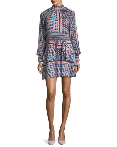 Shelby Mock-Neck Long-Sleeve Printed Silk Dress