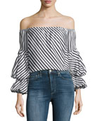 Lilly Off-the-Shoulder Striped Cotton Top