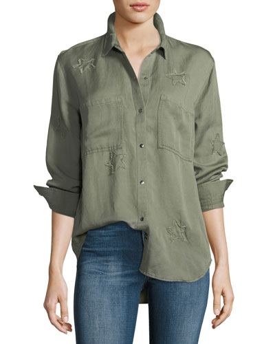 Marcel Snap-Front Long-Sleeve Shirt Jacket with Star Patches