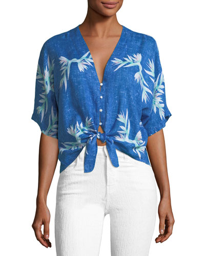 Thea Birds of Paradise Tie-Front Cropped Blouse