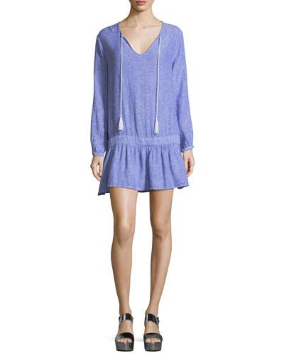 Lydia Split-Neck Drop-Waist Linen Mini Dress
