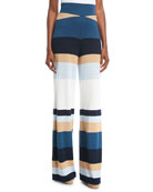 Mahal Striped Wide-Leg Linen Pants