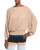 Rumba Boat-Neck Pleated Long-Sleeve Sweater