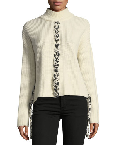 Mughal Lace-Front Wool Knit Sweater