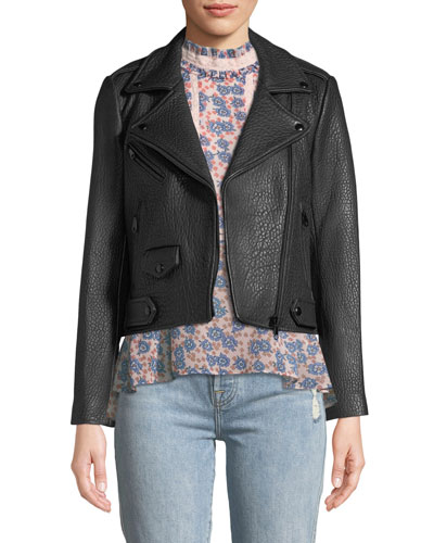 Wes Zip-Front Pebbled Leather Moto Jacket