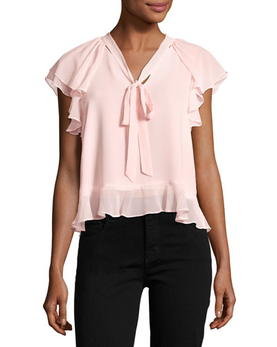 Ronnie Tie-Neck Ruffled Chiffon Blouse