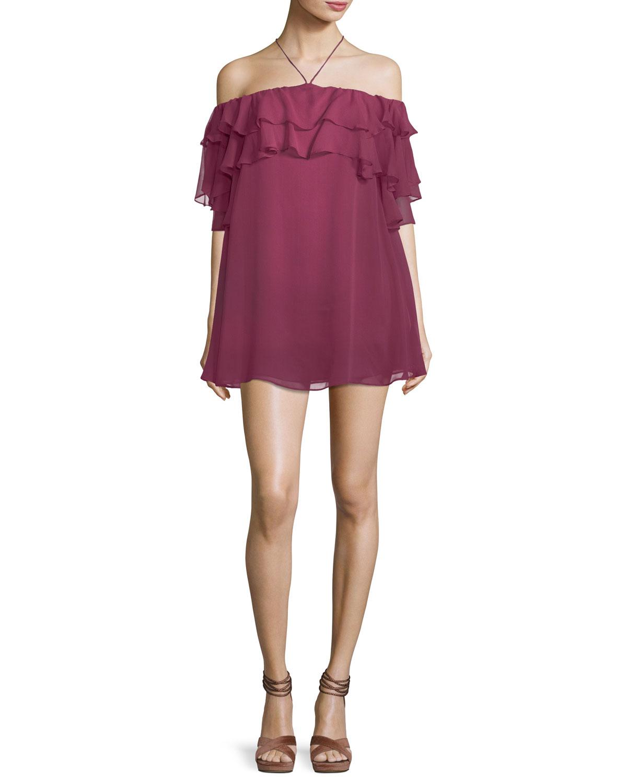 Dena Off-the-Shoulder Ruffled Chiffon Mini Dress