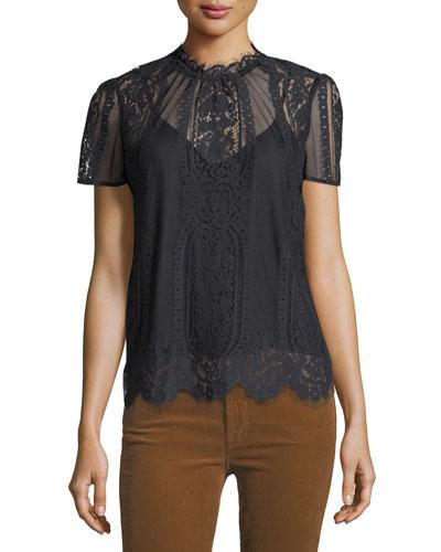 Yasmin High-Neck Short-Sleeve Lace Blouse