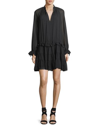 Dylan Split-Neck Long-Sleeve Short Dress