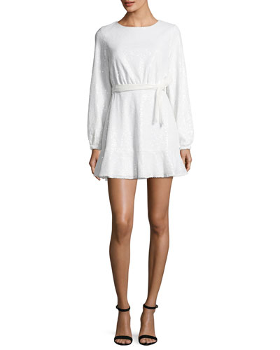 Aria Long-Sleeve Sequin Mini Dress