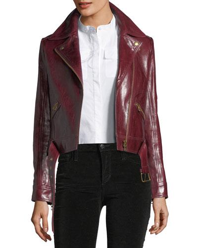 Bianca Cordovan Glazed Biker Jacket