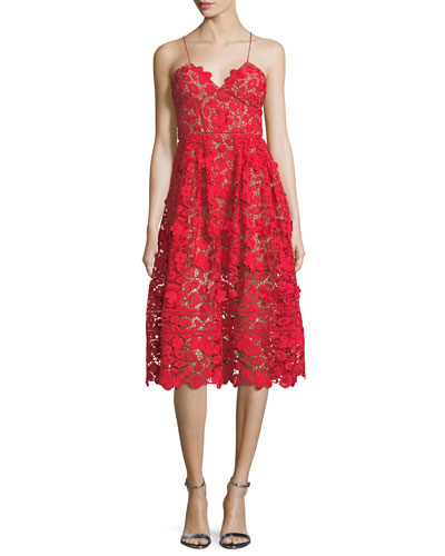3-D Floral-Guipure Fit-and-Flare Cocktail Dress