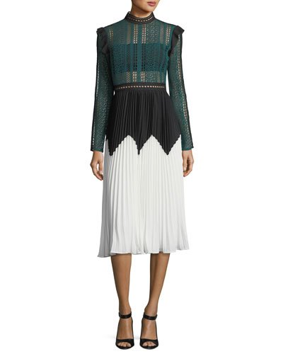 Stripe Paneled Long-Sleeve Lace Midi Dress