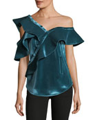Sleeveless Asymmetric Velvet Frill Shirt