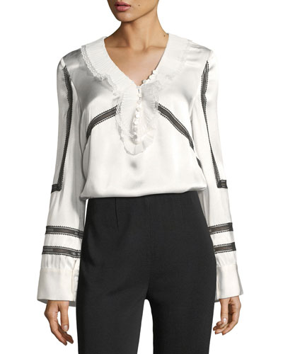 Monochrome Trimmed Long-Sleeve Satin Shirt