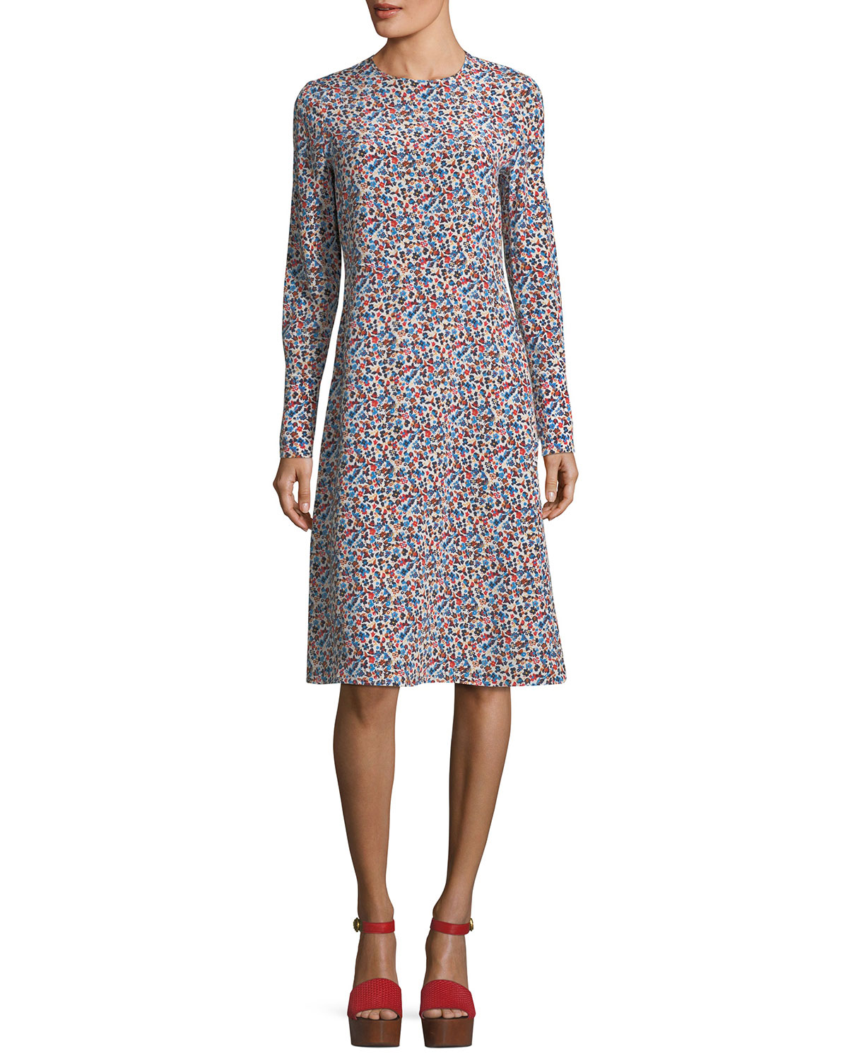 Charlotte Wildflower-Print Long-Sleeve Dress