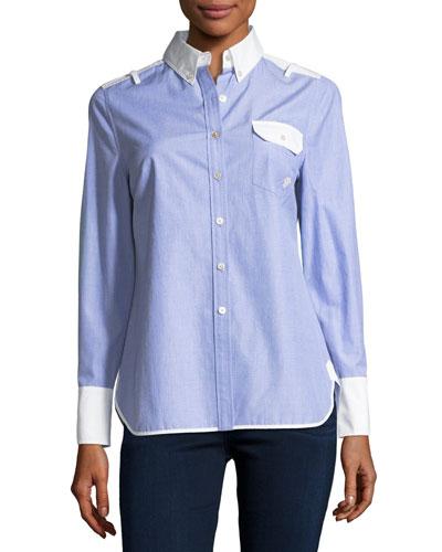 Contrast Long-Sleeve Shirt