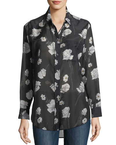Rose-Print Button-Front Egyptian Cotton Shirt