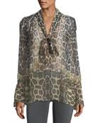 Jacqueleen Tie-Neck Long-Sleeve Leopard-Print Chiffon Blouse