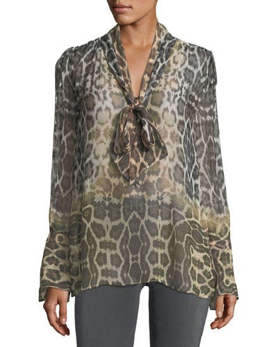 Jacqueleen Tie-Neck Long-Sleeve Leopard-Print Chiffon Blouse