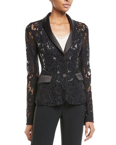 Luella Lace Tuxedo Blazer