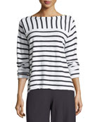 Organic Linen/Cotton Striped Top with Shoulder Buttons, Plus Size