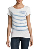 Two-Tone Stripe Linen T-Shirt