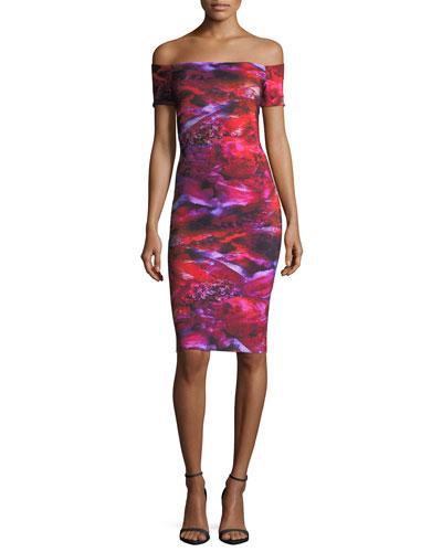 Chiara Boni La Petite Robe  OFF-THE-SHOULDER BLOSSOM COCKTAIL DRESS