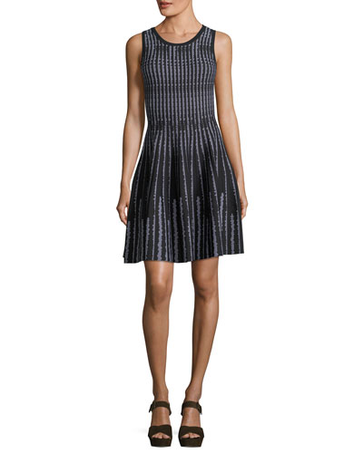 Sleeveless Vertical Optic-Pattern Fit-&-Flare Dress