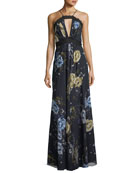 Floral Lace Halter Sleeveless A-Line Dress