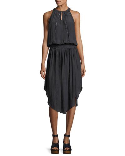 Farrah Sleeveless Midi Dress with Embellishments