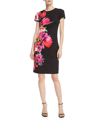 Asymmetric Floral Short-Sleeve Sheath Dress