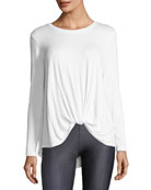 Crewneck Twist-Front Long-Sleeve Tee