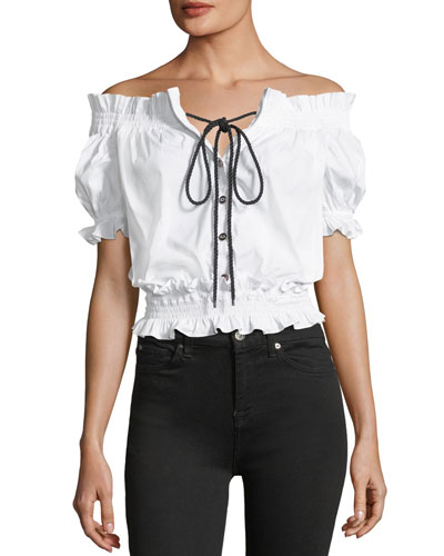 Off-the-Shoulder Button-Front Cropped Poplin Top