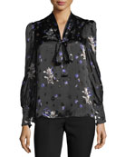 Long-Sleeve Floral-Print Tie-Neck Top