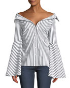 Persephone Off-the-Shoulder Button-Front Striped Poplin Top