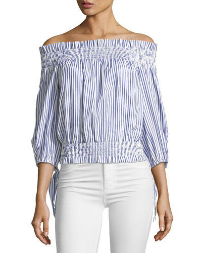 Lou Off-the-Shoulder Striped Crop Top