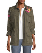 Floral-Embroidered Camouflage Twill Jacket