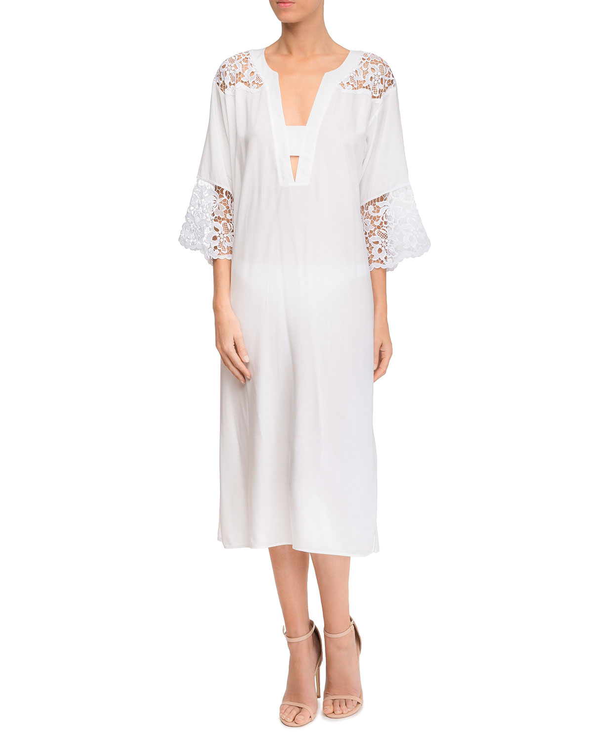 Plunging Coverup Dress with Lace Insets