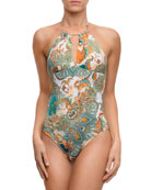 Cashmere Evasion Printed High-Neck Halter One-Piece Swimsuit